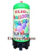 Helium Einwegflasche, 1,8 Liter Heliumgas, Ballongas