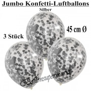 Konfetti-Luftballons, Jumbo, 45 cm, Silber, 3 Stück