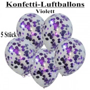 Konfetti-Luftballons, 30 cm, Violett, 5 Stück