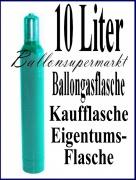 Heliumflasche mit 10 Liter Ballongas, Eigentum, Kaufflasche, inklusive Helium-Füllventil