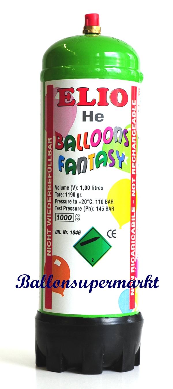 Helium Ballongas in Einwegflasche Ballongas für Luftballons 1 Liter Flasche