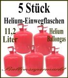 5 Stück Helium-Einweg-Flaschen mit je 2,245 Liter Heliumgas