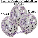 Konfetti-Luftballons, Jumbo, 45 cm, Flieder/Violett, 3 Stück