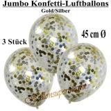 Konfetti-Luftballons, Jumbo, 45 cm, Silber/Gold, 3 Stück