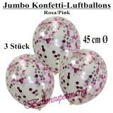 Konfetti-Luftballons, Jumbo, 45 cm, Rosa/Pink, 3 Stück