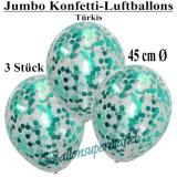 Konfetti-Luftballons, Jumbo, 45 cm, Türkis, 3 Stück