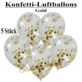 Konfetti-Luftballons, 30 cm, Gold, 5 Stück