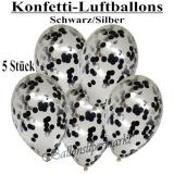 Konfetti-Luftballons, 30 cm, Schwarz/Silber, 5 Stück