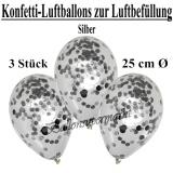 Konfetti-Luftballons zur Luftbefüllung, 25 cm, Silber, 3 Stück