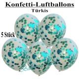 Konfetti-Luftballons, 30 cm, Türkis, 5 Stück