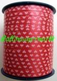 Ballonband 500 m Muster Rot mit weißen Herzen